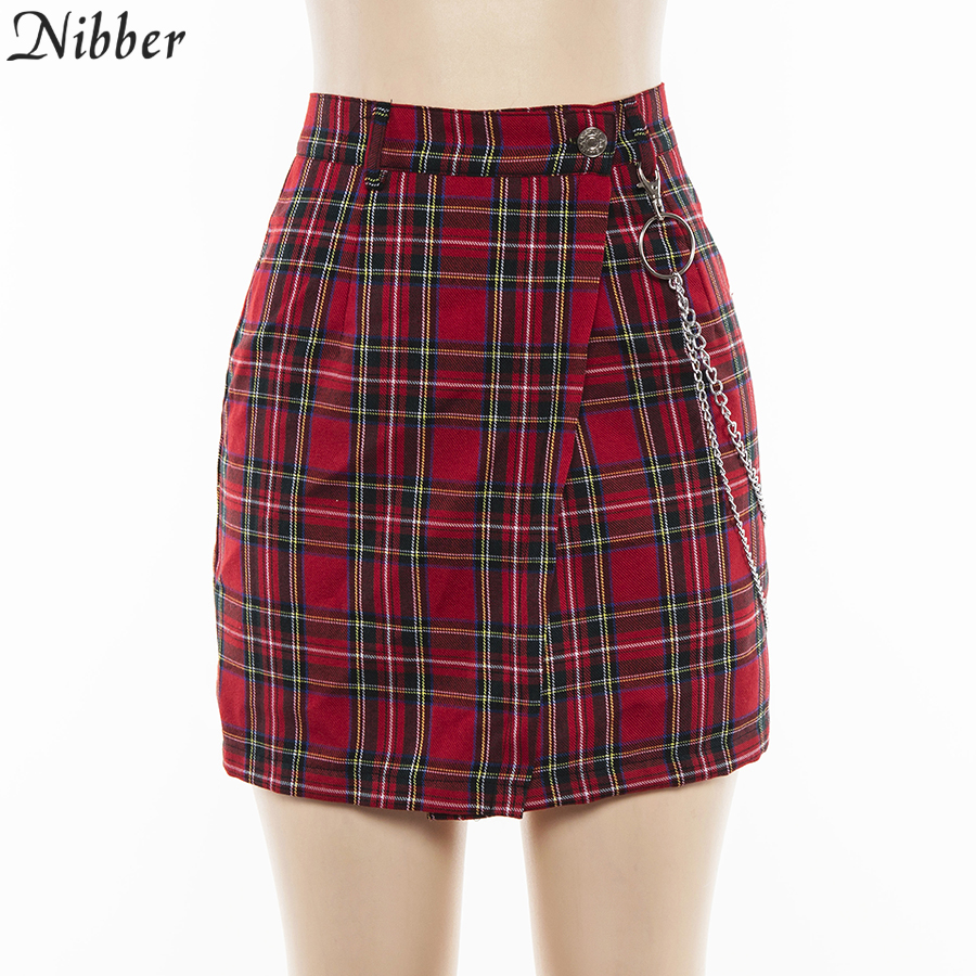 Nibber spring Vintage red Plaid mini skirts Women 19 summer fashion office lady club party casual short pleated skirts mujer 11