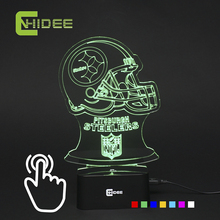 7 Color 3D Night Light for nfl Rugby Fans American Football Browns USB Led Lamp as Home Bedroom Besides Desk Light Lampara Libro(China)