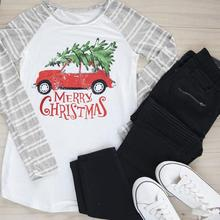 Marry Christmas New Fashion T-shirt Women Top O-Neck Baseball Tees Famale Casual Splicing Print White Full Long Sleeve tshirt(China)