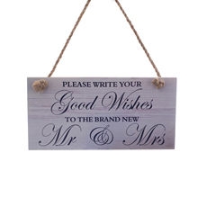 New Wood Wedding Sign Please Write your Good Wishes to The Brand New Mr&Mrs Event Party Supplies Valentine's Day Accessories