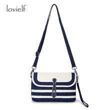 lovielf Fashion Casual girl Women Marine Navy blue striped shoulder bag High quality C blue and white striped Portable Handbags(China)