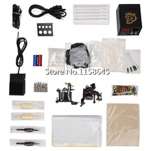 Complete Professional Tattoo Kits 2 Tattoo Gun Machine + LCD Power Supply +Pedal + Needles Tips + Case Accessories Body DHL #p