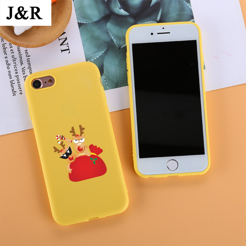 Phone Case For iPhone 6 6s 7 8 Plus X XR XS Max Cover Cute Cartoon Christmas Santa Claus Elk Soft TPU For iPhone 5 5S SE Cover
