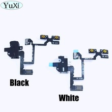 YuXi New Replacement Parts Headphone Audio Jack Volume Button Cable For iPhone 4 Mute Silent Switch Connector Flex Cable(China)