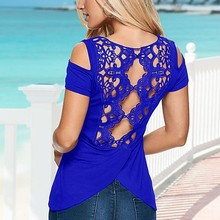 2017 Summer New Hot Sexy Women Blouse Elastic Cotton Back Lace Hollow Crochet Blouse Slim Beach  Ladies Shirt