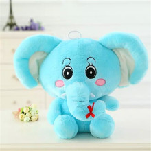 35CM Free Shipping One Piece Cute Elephant Plush Doll With Long Nose PP Cotton Stuffed Super Soft Elephants Kids Toys 4 Colors(China)