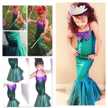 2016 Hot Selling Baby Girls Dresses Fancy Mermaid Dress Sleeveless Lace Up Fashion Summer Wear Girls Kids Princess Dress(China)
