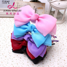 6Inches New Girl Fashion Big Chiffon Bow knot Girls Hair Clasp Lace Bow Baby hairbands Children Hair accessories 6pcs/lot(China)