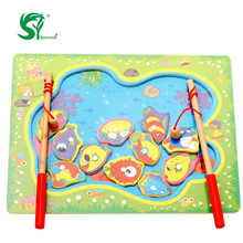 Magnetic Fishing Rod Go Fishing Jointed Board Wooden Baby toys for children Creative Intelligence puzzle Educational kids toys