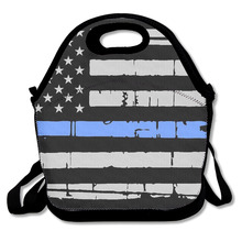 3D Print Thin Blue Line American Flag Lunch Bags Insulated Waterproof Food Girl Packages Womens Kids Babys Boys Handbags(China)