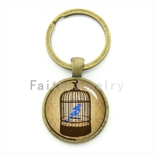 2016 retro style bird&cage key chain charming blue cute bird in a vintage cage exquisite pop interesting keychain jewelry KC264