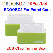 10pcs/Lot Green Benzine&Petrol Cars EcoOBD2 ECU Chip Tuning Box 15% Fuel Save Economy Eco OBD2 Lower Fuel and Lower Emission