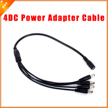 2pcs/lot DC Female to 4 DC Male Power Splitter Adapter Cable for CCTV Security Camera Cable for Surveillance System