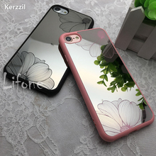Kerzzil Soft Mirror Silicone Gel Morning glory Lace Flowers Case For iPhone 7 6 6S Plus Floral Leaf Cover For iPhone 6 7 6S Back(China)