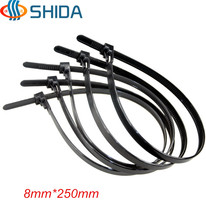 High Quality 50pcs/lot 8*250mm Releasable Plastic Nylon Cable Ties, Black and White Wire Organizer Zip Tie Cord Strap(China)
