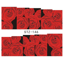 1Sheets NEW Fashion Women Nail Art Sticker Tattoos Water Transfer Full Red Rose Beauty Decals Wraps Manicure Tools STZ146(China)