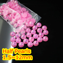Jelly Pink AB Color 1.5mm~12mm All Size Choice Flat back ABS round Half Pearl beads, imitation plastic half pearl beads