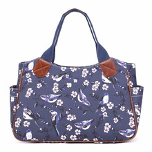 MISS LULU Women Shoulder Handbags Matte Oilcloth Top-handle Bags Navy Bird Flower Shopper Tote Market Day Hand Bag YD1105