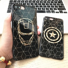Marvel Super Hero Flash Powder Soft Luxury Silicone Phone Cases For iPhone 6 6S 7 Plus Back Cover Case Batman Iron Man Superman