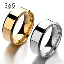 Simple Finger Jewelry 8mm Never Fade Silver Rose Gold One Band Ring Men's Smooth Stainless Steel The Lord Rings for Man Gift(China)