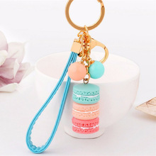 Creative Macarons Cake Key Chain Hide Rope Pink Pendant Keychains Women's Accessories Of Charm Keychain Car Key Chains Trinket(China)