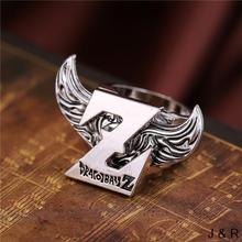 J Store Anime DRAGON BALL Logo Rings Angel Wings Rotatable Punk Metal Ring New Arrived Fans Jewelry Accessories Gift(China)