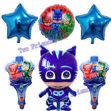 6pcs/lot new style PJ MASKS balloons handheld Birthday party decorations stick ballons air inflatable balloon child toys