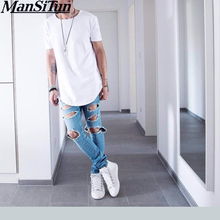 Man si Tun Mens big and tall Clothing Men's Basic Extended Long T-Shirt Elongated Tee Hipster Crew Neck Black hip hop T-Shirt(China)