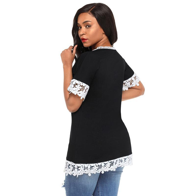 Dreszdi Lace Trim T Shirt Women Short Sleeve Summer T-shirt Casual Tee Female Tshirt Tops black green (1)