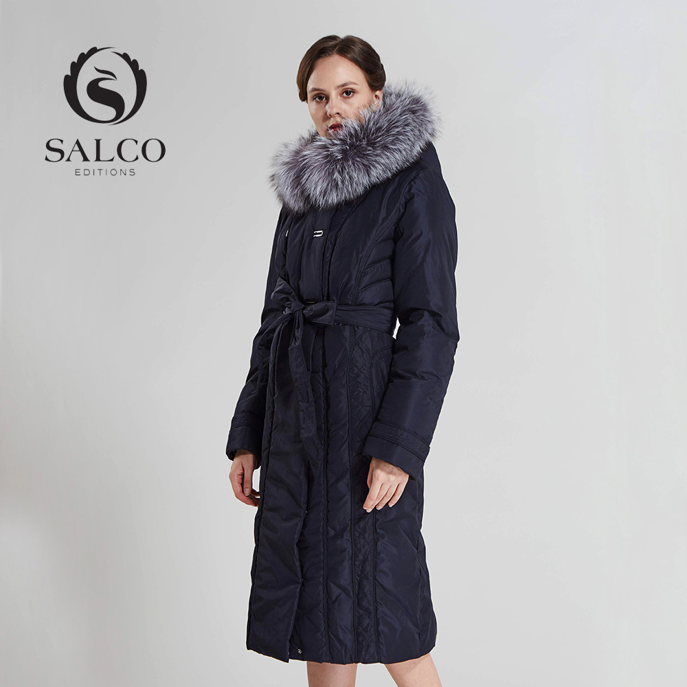 SALCO In 2016 the new womens wear to keep warm long pearl cotton-padded jacket Ms removable silver fox fur collar jacketОдежда и ак�е��уары<br><br><br>Aliexpress
