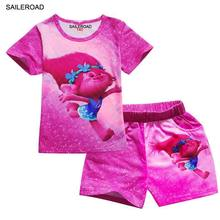 SAILEROAD Cartoon Children Suits Sets Girls Sport Clothing Set Baby Kids Clothes Cute T Shirt Shorts Pants Summer 3-9Years(China)