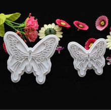 2Pcs Butterfly Cake Fondant Decorating Sugarcraft Cookie Lovely Cutters Mold Baking Tools