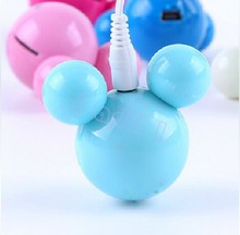 Cheaper 20pcs mini cute cartoon Mickey mp3 Player with Microsd card Slot +earphone +usb cable mutil colors
