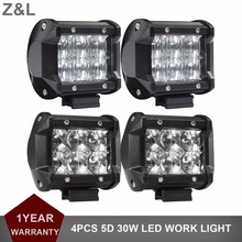 "4pcs 4"" 30W LED Work Light 5D Offroad Motorcycle SUV ATV 4WD 4x4 Auto Truck Car Wagon Pickup AWD Headlight Driving Lamp 12V 24V"