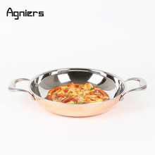 Agniers 26cm Multi-Ply Clad Copper and Stainless-Steel 10-Inch Paella Pans(China)