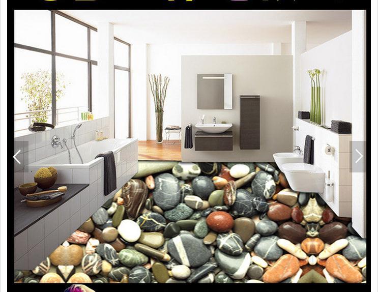 custom 3d photo wallpaper 3d flooring painting wallpaper Floor of pebble stereo bathroom floor painting 3d living room wallpaer<br>