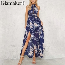 Buy Glamaker Floral print chiffon summer dress Sexy hollow backless maxi dress vestidos Casual halter women dress boho beach
