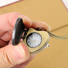 Cindiry New Sweet Heart Vintage Retro Chain Pocket Watch Crystal Pendant Necklace Lady Girl Gift  P20