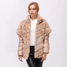 CNEGOVIK Short real rabbit fur jacket women fur real coat rex rabbit(China)