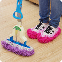 2PCS Multifunction Microfiber Chenille Floor Dust Cleaning Slipper Mop Wipe Shoes House Home Cloth Clean Cover Mophead Overshoe