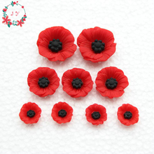 Set of 100pcs Chic Resin Red Poppy Flower Artificial Flower Flatback Embellishment Cabochons Cap for home decor 12-23mm