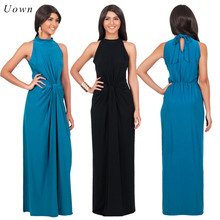 2017 Summer Halter Neck Maxi Dress Women Simple Sleeveless Celebrity Party Prom Long Dress Ladies Pleated Evening Dinner Dress
