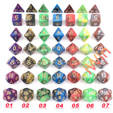 New Two Colors Polyhedral Dice For Outdoor Entertainment DnD RPG MTG Games with Thick Velvet Pourch