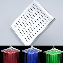 Best Selling High Quality 8 inches ABS Plastic Material Rainfall Shower Head with LED Light Color Changing
