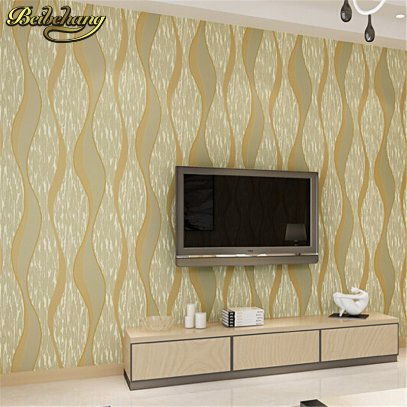 beibehang Non-woven Wallpaper Embossed Flocking 3d Wave Striped Wall Paper Modern Minimalist Style Design Wall covering<br>