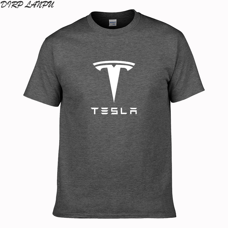 2018 NEW 100% cotton Tesla Men T Shirts Short Sleeve Round Neck Ringer Letter Printed cotton Male Tees Casual Boy t-shirt Tops(China)