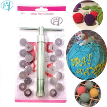 Stainless Steel Sugar Paste Extruder Craft Gun with 20 Tips Sugar Craft Fondant Cake Sculpture Polymer Clay Tools