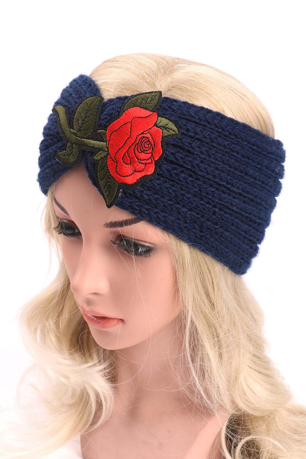 New Style Women Embroidered Knitted Hair Ribbon Winter Wool Warm Crochet Bow Headband For Lady Women Head Bands Hair Accessories