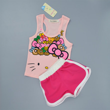2017 baby girls clothing summer hello kitty pattern sleeveless girls clothes shorts suit girls clothes 2-6years kids clothes set