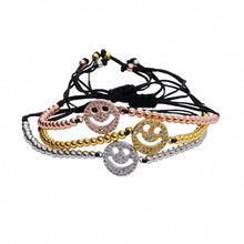 Hot! 2016 Newest girl bracelets in Jewelry ,Smile face meaning happy lucky thing to you ,gold color beads with cubic Zircon